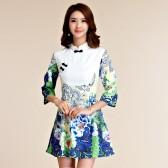 9955绿色   优雅显瘦中袖旗袍大码连衣裙