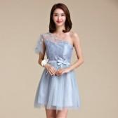 9872款灰色  时尚姐妹裙大码小礼服短款网纱连衣裙