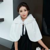 9665白色 冬季大码礼服披肩结婚新娘前台咨客伴娘加厚保暖斗篷毛毛披肩