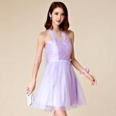 9873紫色 伴娘团礼服短款大码姐妹裙宴会遮肩小礼服连衣裙
