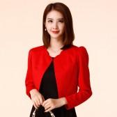 9958红色  百搭小香风长袖小外套大码披肩开衫礼服衫空调衫修身上衣