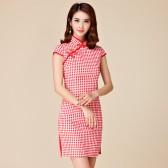 9880  经典弹力收身紧腰红色千鸟格新中国风复古短袖中款连衣裙