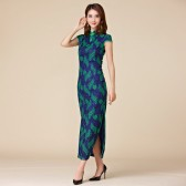 9876 时尚印花蕾丝包扣立领短袖瘦腰定制大码旗袍长款唐装连衣裙