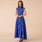 9885蓝色 中国风刺绣旗袍宴会端秀高雅礼服长款大码连衣裙