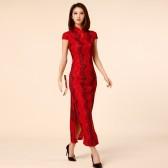 9888红色 喜庆筳席必备改良中国风短袖显瘦大码旗袍复古唐装礼服长裙