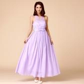 9760紫色  唯美姐妹团大码晚礼服伴娘团双肩绑带显瘦长裙小礼服