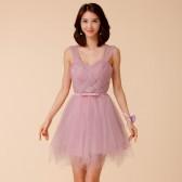 9672烟紫色  气质公主裙甜美网纱时尚抢镜姐妹团伴娘大码晚礼服连衣裙