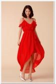 9964红色  时尚度假不规则沙滩裙露肩吊带大码雪纺燕尾礼服长款连衣裙