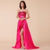 9671玫红色  奢华露肩重手工钉珠拖地长款礼服表演裙宴会主持大码晚礼服
