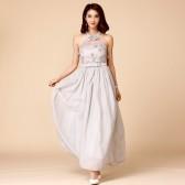 9759灰色  甜美新款伴娘四季小礼服雪纺大码晚礼服长款挂肩连衣裙