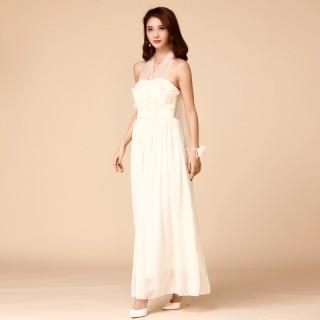 9760香槟色  唯美姐妹团大码晚礼服伴娘团双肩绑带显瘦长裙小礼服