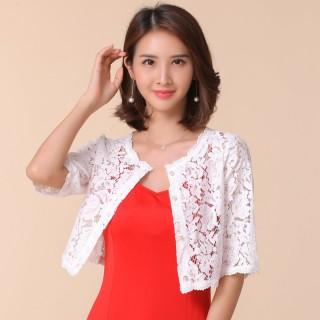 9762白色  四季宜穿蕾丝开衫百搭小披肩沙滩防晒衫空调衫礼服大码中袖小外套短款上衣