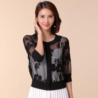 9673黑色  韩版小香风短款小外套百搭吊带裙坎肩防晒大码开衫蕾丝薄款小披肩上衣