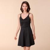 9676黑色  时尚性感吊带裙高腰显瘦大码短裙A字裙针织礼服连衣裙