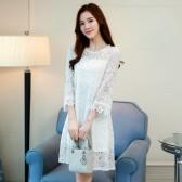 9765白色  韩版四季宽松百搭打底裙蕾丝大码中长款连衣裙