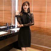 9968黑色  时尚气质夜场晚宴性感礼服裙修身针织长袖大码中裙包臀连衣裙
