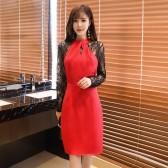 9968红色  时尚气质夜场晚宴性感礼服裙修身针织长袖大码中裙包臀连衣裙