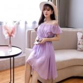 9894紫色  夏季清新一字肩小吊带性感减龄大码沙滩裙短裙出游裙