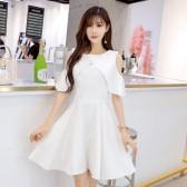 9898白色   小仙气连衣裙时尚晚宴裙露肩高档姐妹裙大码晚礼服