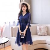 9897深蓝色  优雅V领雪纺皱七分袖中长款加大码连衣裙收腰显瘦名媛裙
