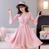 9897粉紫色  优雅V领雪纺皱七分袖中长款加大码连衣裙收腰显瘦名媛裙