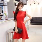 9973红色    欧美风荷叶袖名媛气质露背蕾丝雪纺大码中长款连衣裙