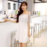 9972 白色  小仙气一字肩收腰显瘦时尚大码连衣裙