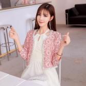 9685粉色  名媛淑女九分袖短款蕾丝小外套开衫防晒大码披肩外搭