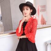 9684红色  四季百搭空调衫中衫喇叭袖蕾丝卷边开衫大码坎肩防晒小上衣