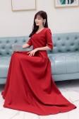 6600款枣红色  时尚唯美高档显瘦中袖五分袖V领大码晚礼服长款连衣裙