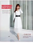 6602白色  时尚小西装翻领蕾丝欧版假两件套收腰显瘦大码连衣裙(送腰带)