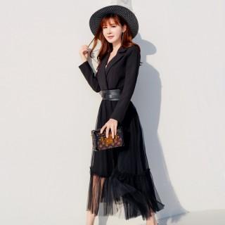 6602黑色 时尚小西装翻领蕾丝欧版假两件套收腰显瘦大码连衣裙(送腰带)
