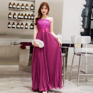 9688紫色  性感露肩高雅亮片雪纺压褶长款晚礼服(送透明肩带)