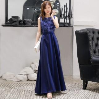 9980深蓝色  名媛高雅修身显瘦长款礼服精致绣花珠片大码连衣裙