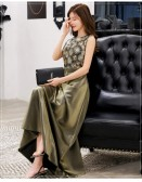 9980橄榄色  名媛高雅修身显瘦长款礼服精致绣花珠片大码连衣裙