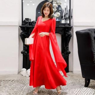 9979红色  高贵优雅飘逸个性长拂袖修身V领长款礼服连衣裙大码长裙