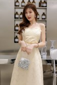 6604香槟色  时尚高贵网纱珠片抹胸V领大码礼服裙胖M显瘦长款连衣裙(送腰带)