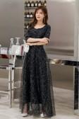 6606香槟色  高贵优雅时尚繁星点缀中袖长裙名媛气质连衣裙