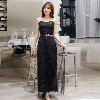 6605黑色  优雅时尚网纱亮丝心形抹胸修身长款宴会礼服裙(送腰带)
