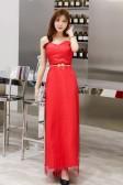 6605红色  优雅时尚网纱亮丝心形抹胸修身长款宴会礼服裙(送腰带)