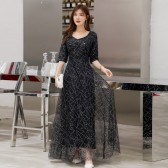 6606黑色  高贵优雅时尚繁星点缀中袖长裙名媛气质连衣裙