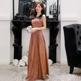 9692  灰蓝色 时尚优雅闪亮瘦腰吊带大牌长款晚礼服大码宴会表演裙