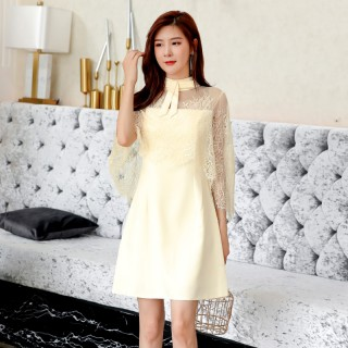 9984款 香槟色 优雅名媛连衣裙小香风遮肩礼服裙