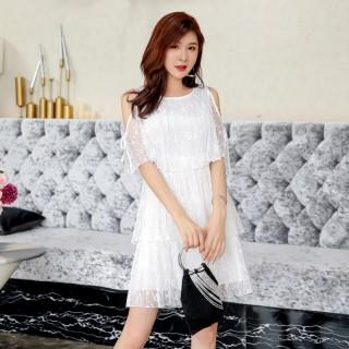 9982#  白色  露肩蕾丝新款小清新仙女连衣裙裙短款蛋糕裙
