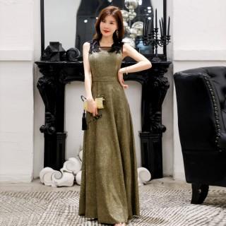 9692款 金色 时尚优雅闪亮瘦腰吊带大牌长款晚礼服大码宴会表演裙