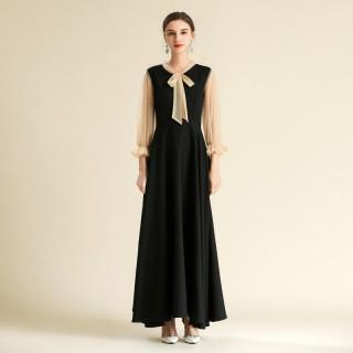 6608款黑色  中袖大摆浪漫绑带经典拼色长款黑色连衣裙