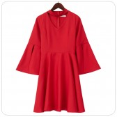 6607款黑色  宴会仙气优雅气质飘袖V领短款连衣裙大码礼服