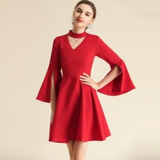 6607款红色  宴会仙气优雅气质飘袖V领短款连衣裙大码礼服