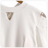 9695# 白色 长袖气质黑白仙气高雅小礼服秋冬连衣裙