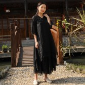 9985黑色  中国风禅意禅服女汉服长款茶服两件套(不配裤子)大码文艺宽松裙